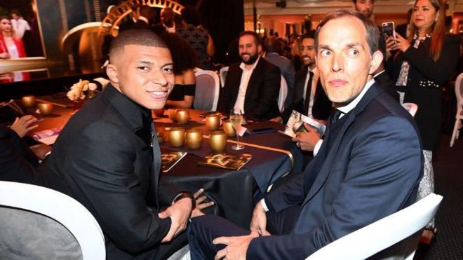 Kylian Mbappé and Thomas Tuchel at the Ligue 1 awards.
