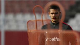André Silva, en un entrenamiento del Sevilla.