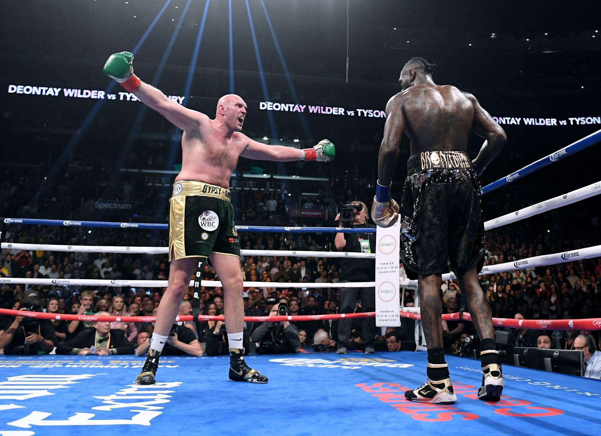 Tyson Fury durante su pelea contra Deontay Wilder en diciembre de 2018