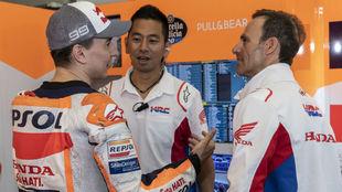 Lorenzo, con Puig y Yokoyama.