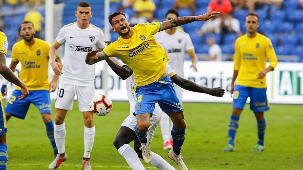 Danny Blum, durante el partido ante el Málaga en el Gran Canaria