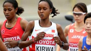 Eunice Kirwa durante el maratón del Mundial de Pekín 2015, en el que...
