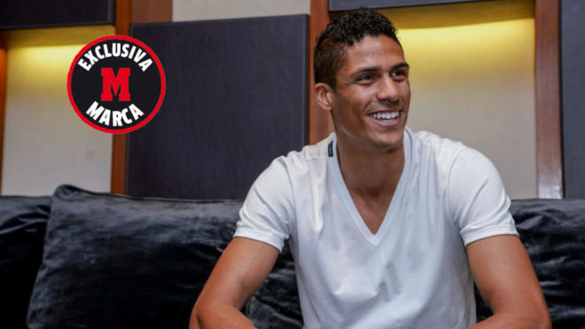 Raphael Varane during the interview with MARCA, which will be...