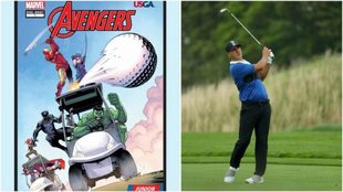 Imagen del cómic (izquierda) y Brooks Koepka (derecha).