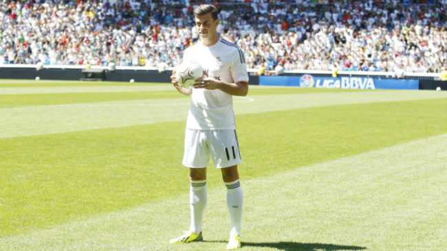 Bale during his Real Madrid presentation on September 2, 2013.