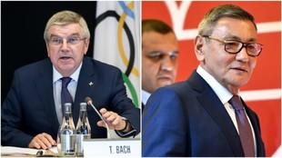 Thomas Bach (pte COI) y Gafur Rakhimov (expresidente de AIBA).
