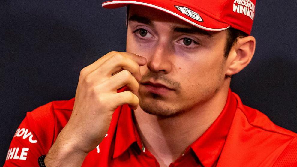 Leclerc, durante la rueda de prensa de hoy en el GP de Mónaco.