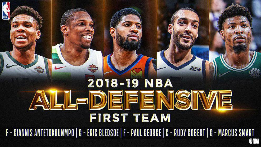 Gobert, George y Antetokounmpo lideran el mejor quinteto defensivo de la NBA
