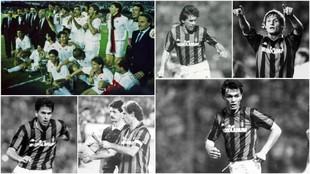 Los jugadores del Milan durante la conquista de su primera Copa de...