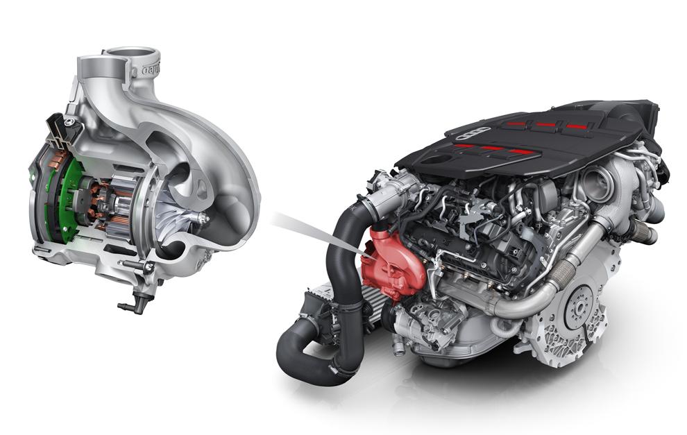 El V6 TDI con turbo eléctrico y sistema microhíbrido de 48 V es...