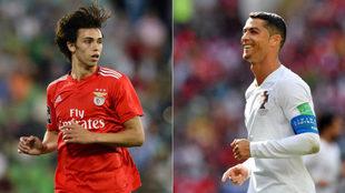 Joao Félix y Cristiano Ronaldo.