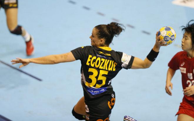Naiara Egozkue en un partido con la selección española /