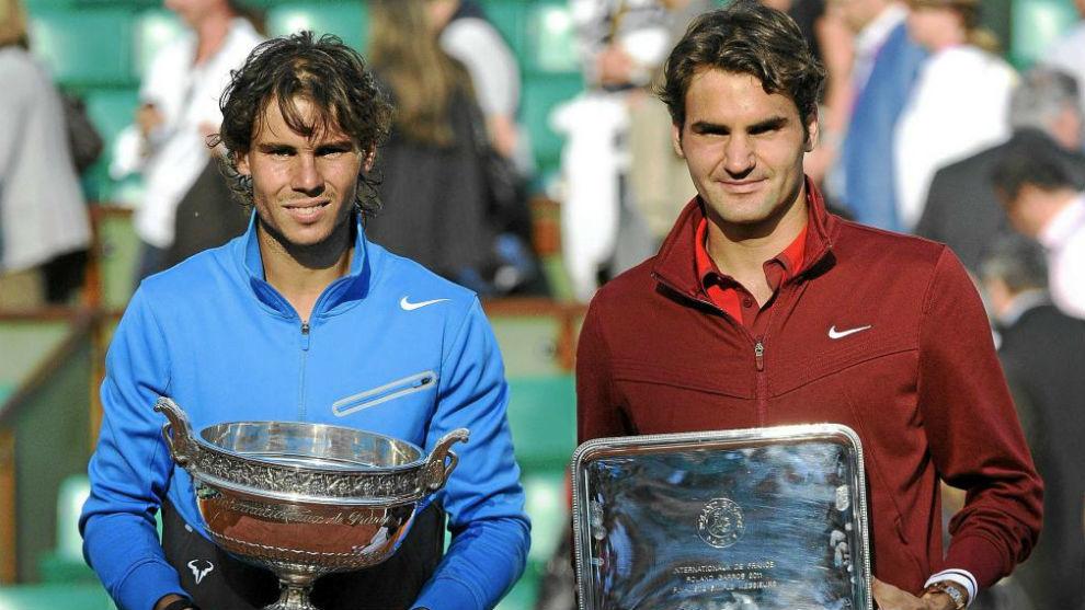 Nadal y Federer, en la ceremonia de trofeos de Roland Garros