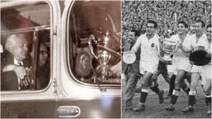 A la izquierda Mundo (entrenador) con la Copa de 1967/ Mundo corre con...