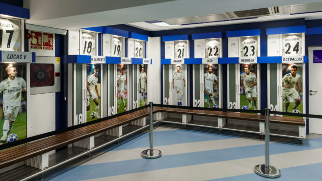 Image of the Real Madrid dressing room.