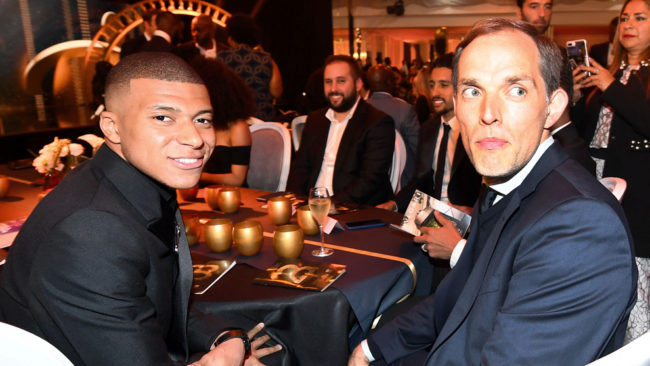 Kylian Mbappé and Thomas Tuchel during the Ligue 1 awards gala.