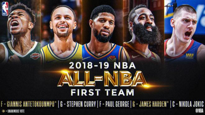 Harden y Giannis lideran Mejor Quinteto