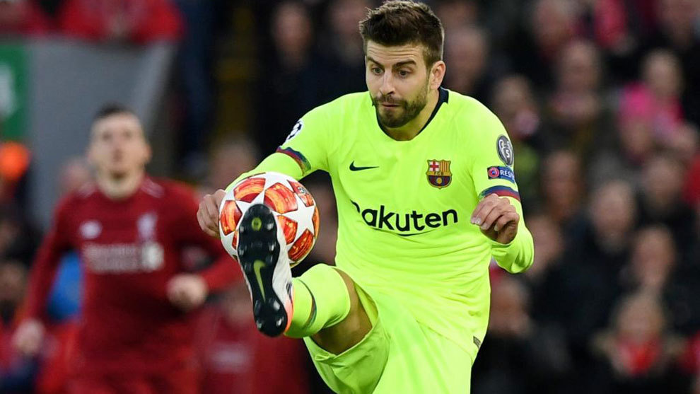 Gerard Pique during Barcelona's 4-0 defeat at Anfield.