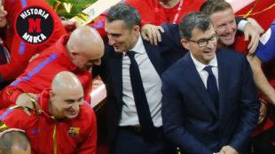 Valverde celebra con su staff la victoria en la final de Copa de 2018.