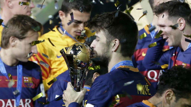Gerard Piqué after winning the Club World Cup in 2015