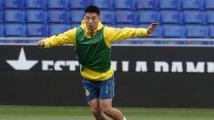 Wu, en un entrenamiento