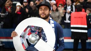 Neymar, durante la celebración del título con el PSG