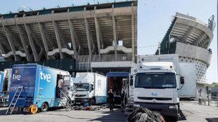Preparativos para la final de Copa del Rey en el Villamarín.