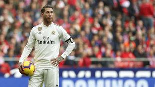 Sergio Ramos, durante un partido de esta temporada