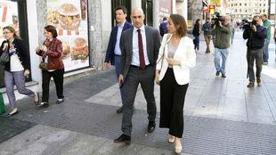 El presidente de la RFEF, Luis Rubiales, nada más abandonar el...