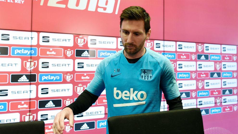 Messi, en la comparecencia ante la Prensa previa a la final de Copa.