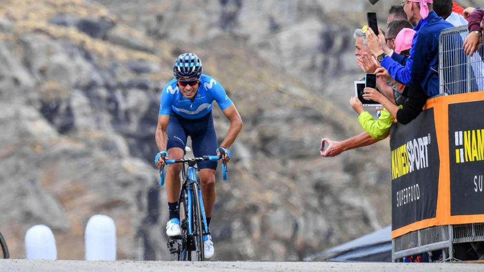 Mikel Landa entrando en la meta de la 13ª etapa del Giro.