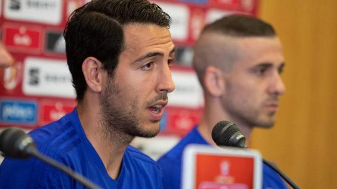Dani Parejo at Valencia's pre-match press conference in Jerez.