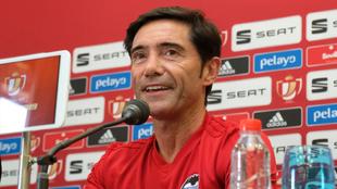 Marcelino, en la rueda de prensa en el hotel de concentración del...