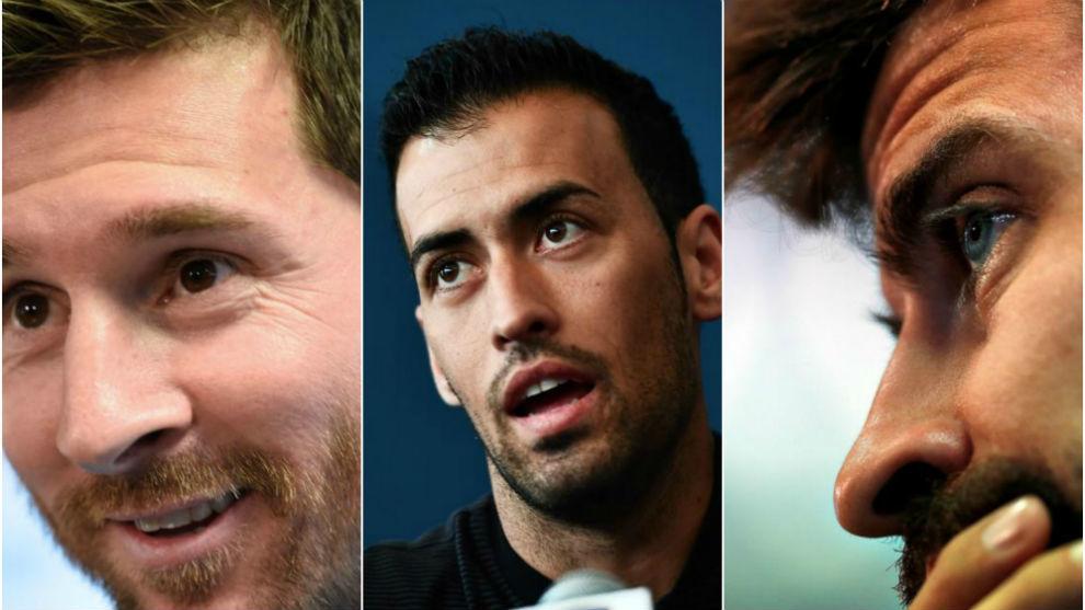 Lionel Messi, Sergio Busquets and Gerard Piqué.