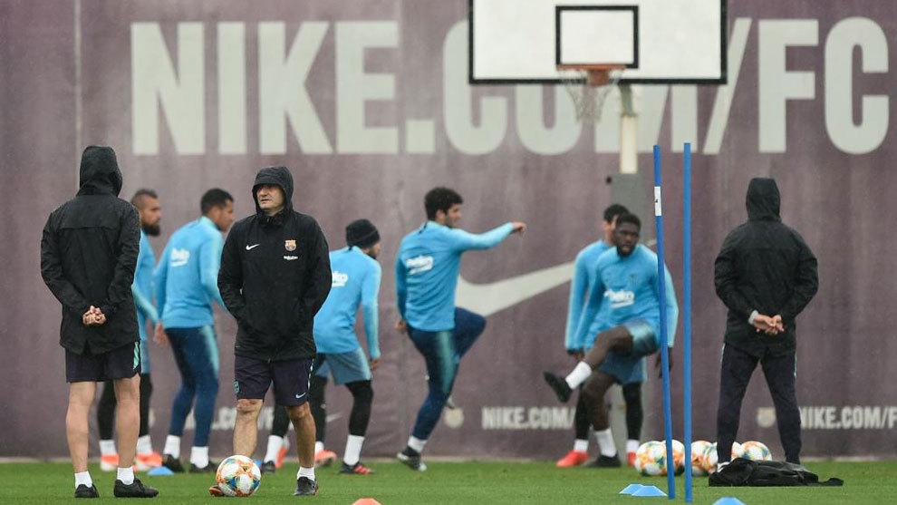 Barcelona's training session before Saturday's Copa del Rey final.