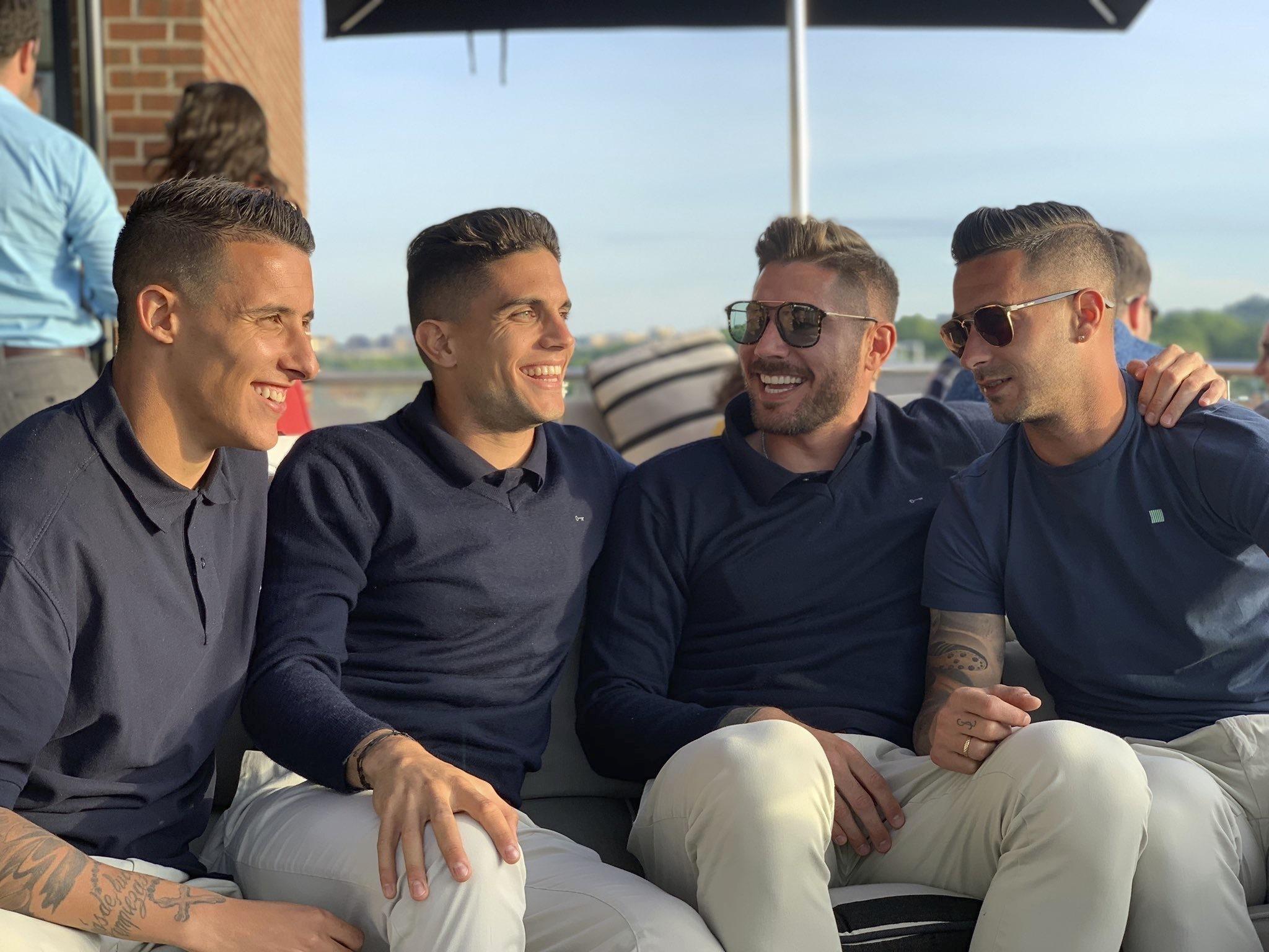 Tello, Bartra, Javi García y Sergio León en Washington durante la gira del <HIT>Betis</HIT> por Estados Unidos Foto: Instagram de Bartra