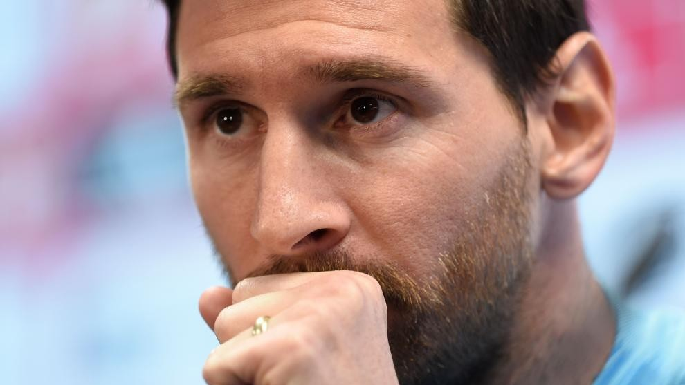 Messi in a focused mood.