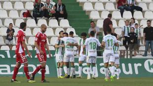 Los jugadores del Córdoba celebran un gol esta temporada.