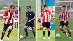 Iñigo Vicente, Dani Vivian, Oihan Sancet y Unai Vencedor.