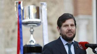 El director general del Valencia, Mateo Alemany, en el acto previo de...
