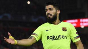 Luis Suárez en el partido contra el Liverpool