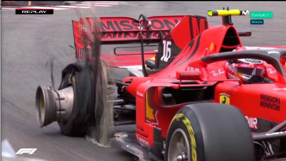 Leclerc, pinchado durante la carrera de hoy