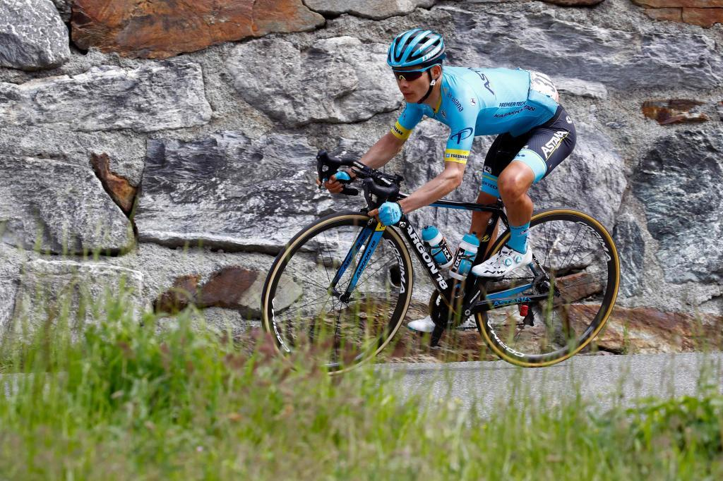 Team Astana rider Colombias <HIT>Miguel</HIT><HIT>Angel</HIT><HIT>Lopez</HIT> competes in stage 14 of the 102nd Giro dItalia - Tour of Italy - cycle race, from Saint-Vincent to Courmayeur on May 25, 2019. (Photo by Luk BENIES / AFP)