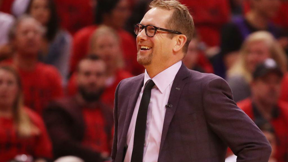 Nick Nurse dirigiendo a los Toronto Raptors en estos 'playoffs'