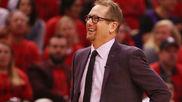 Nick Nurse dirigiendo a los Toronto Raptors en estos 'playoffs'
