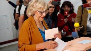 La alcaldesa y candidata a la reelección, Manuela Carmena