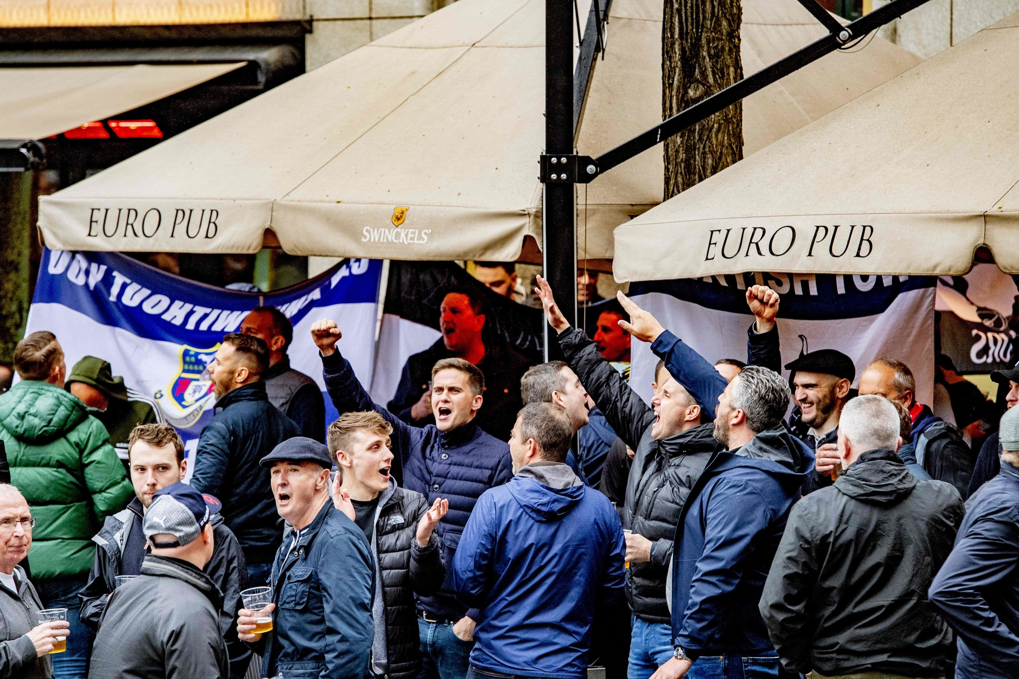 British <HIT>fans</HIT> react prior to the UEFA Champions League semi-final football match between Ajax Amsterdam and <HIT>Tottenham</HIT> Hotspur in Amsterdam on May 8, 2019. (Photo by Robin Utrecht / ANP / AFP) / Netherlands OUT