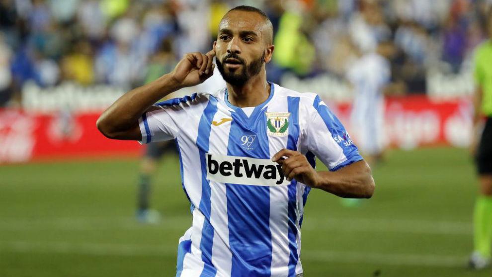 El Zhar celebra un gol con el Leganés esta temporada.