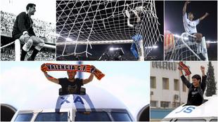 Diversos momentos de celebraciones de títulos del Valencia.