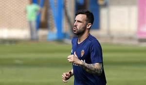 Guitián, durante un entrenamiento reciente del Zaragoza